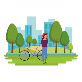 Bez twarzy dziewczyna i rower