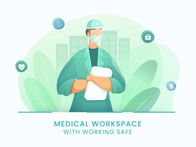 Bez twarzy lekarz mężczyzna ubrany w maskę medyczną, osłonę twarzy i raport z pliku na zielonych liściach i białym tle dla zatrzymania koronawirusa.