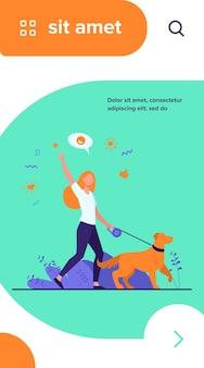 Bez twarzy szczęśliwa kobieta spaceru z psem w parku na białym tle ilustracji wektorowych płaski