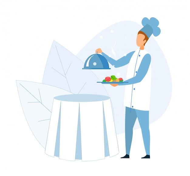 Bez twarzy szef kuchni trzymając stalową tacę pieczone warzywa