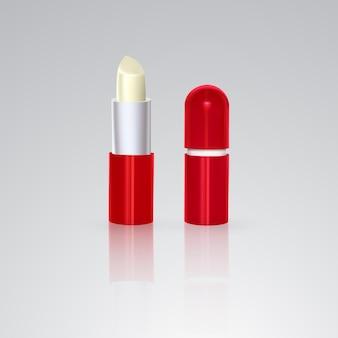 Bezbarwna higieniczna szminka w białej plastikowej tubce. ilustracja na białym tle
