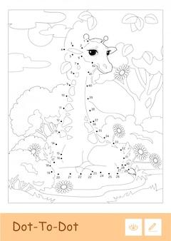Bezbarwna ilustracja kontur kropka w ramce z żyrafą w lesie. dzikie zwierzęta, ssaki i roślinożerne dzieci w wieku przedszkolnym ilustracje do kolorowania i aktywność rozwojowa.