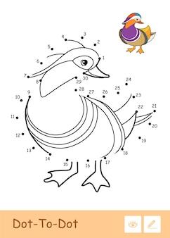 Bezbarwna ilustracja konturowa kropka-kropka z kaczką mandarynką. dzikie ptaki w wieku przedszkolnym, kolorowanie ilustracji książkowych i aktywność rozwojowa.