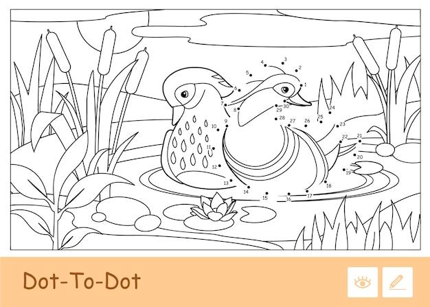 Bezbarwna ilustracja konturowa kropka-kropka z kaczkami mandarynek unoszącymi się na leśnej rzece w pobliżu trzcin i lilii wodnych. ptaki w wieku przedszkolnym kolorowanki ilustracje do książek.