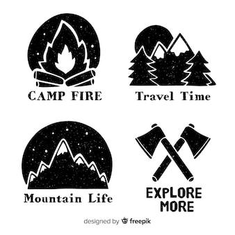 Bezbarwna kolekcja ręcznie rysowane logo przygody