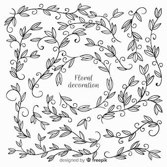Bezbarwne ręcznie rysowane elementy dekoracji kwiatowych