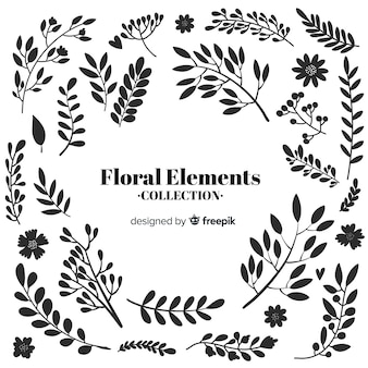 Bezbarwne ręcznie rysowane kwiatowy elementy dekoracyjne