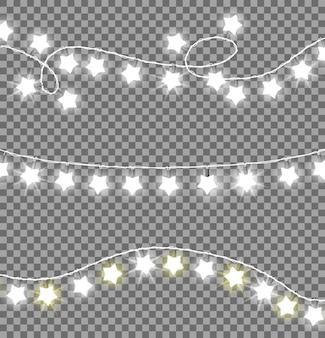 Bezbarwne świąteczne girlandy zestaw ozdób gwiazdy