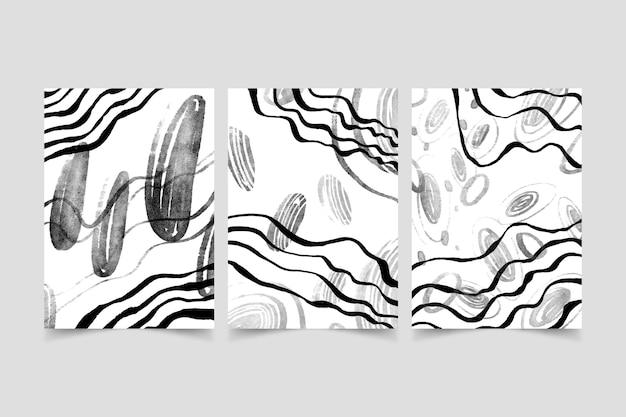 Bezbarwny abstrakcyjny zestaw okładek akwarela