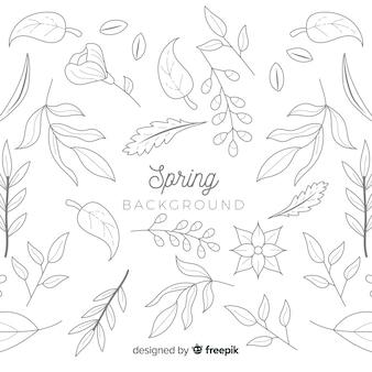 Bezbarwny doodle wiosny tło
