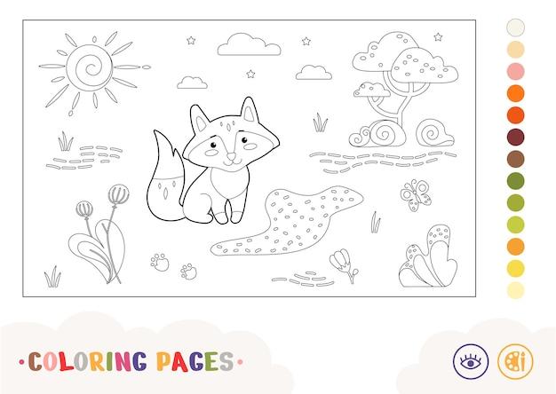 Bezbarwny konturowy obraz lisa siedzącego w pobliżu leśnego potoku dzikie zwierzęta dzieci w wieku przedszkolnym colorin