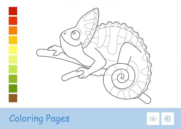Bezbarwny Konturowy Wizerunek śliczny Kameleonu Obsiadanie Na Gałąź Odizolowywającej Na Bielu. Premium Wektorów
