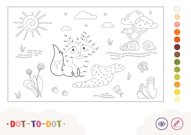 Bezbarwny obraz dottodot z lisem siedzącym w pobliżu leśnego strumienia dzikie zwierzęta dzieci w wieku przedszkolnym co