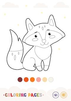 Bezbarwny pionowy obraz ładny liniowy lis na białym tle dzikie zwierzęta przedszkole k
