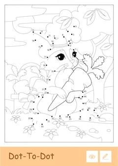 Bezbarwny wektor kontur ilustracja królik w kapeluszu zbieranie marchewek w drewnie na białym tle.