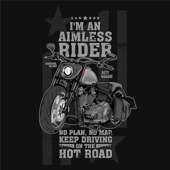 Bezcelowy jeździec, ilustracja motocykla z dużym silnikiem
