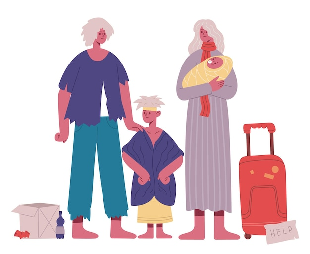 Bezdomna rodzina. biedny, głodny i brudny ojciec, matka i dzieci, uchodźca bezpaństwowców rodziny kreskówka wektor ilustracja. rodzina w sytuacji kryzysowej. bezdomna i biedna rodzina, potrzebują pomocy, problem ubóstwa