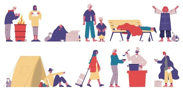 Bezdomne postacie. biedne, bezrobocie żebrak znaków, głodni i brudni ludzie kreskówka wektor zestaw ilustracji. żebrak potrzebuje pomocy. ubóstwo i bezrobocie, bezrobocie żebraków charakteru