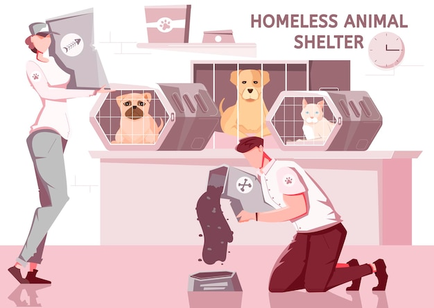 Bezdomne zwierzę pomaga w płaskiej kompozycji ze zwierzętami w klatkach i wolontariuszami w mundurach z tekstem