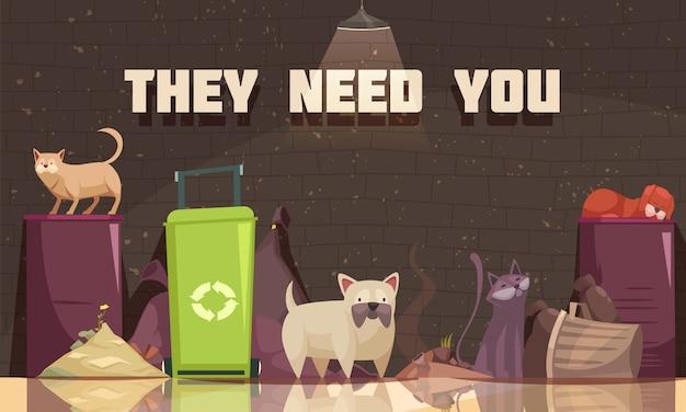 Bezdomne zwierzęta z kotami w pobliżu pojemników na śmieci i potrzebują nagłówka płaskiego