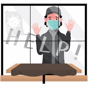 Bezdomni, którzy potrzebują pomocy bezrobotni, przedstawiają mężczyznę stojącego za oknem i proszącego o pomoc