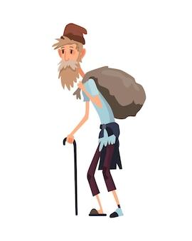 Bezdomni ludzie. smutni bezrobotni ludzie w brudnych ubraniach błagający o pieniądze i potrzebujący pomocy. bezrobotni mężczyźni potrzebujący pomocy. żebrak włóczęga lub włóczęga bezdomny staruszek z kijem.
