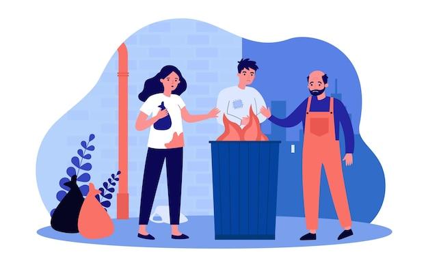 Bezdomni ogrzewający się przy ogniu w śmietniku. ilustracja wektorowa płaski. kobieta i mężczyźni w brudnych ubraniach, ze smutnymi twarzami, głodni i zmarznięci. ubóstwo, porażka, koncepcja bezdomności