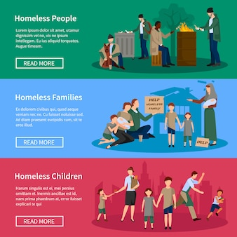 Bezdomny baner zestaw z ludźmi żyjącymi na ulicy bez jedzenia i pieniędzy