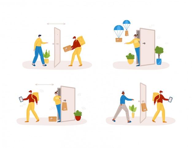 Bezdotykowa dostawa produktów lub paczek do domu do drzwi wejściowych