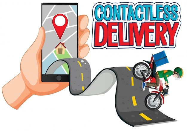 Bezdotykowe logo dostawy z rowerzystą lub dostawcą