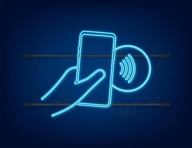 Bezdotykowe logo znak płatności bezprzewodowych. technologia nfc. komunikacja bliskiego zasięgu. neon nfc. czas ilustracja wektorowa.
