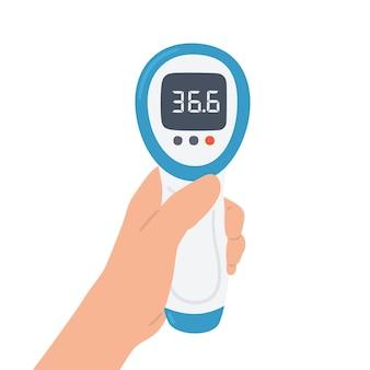 Bezdotykowy termometr elektroniczny na podczerwień z normalną temperaturą w dłoni. medyczna aparatura pomiarowa. obiekt wektorowy na białym tle na białym tle