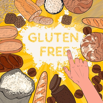 Bezglutenowe tło z mąki, pieczywa, ciast i piekarni. pop art
