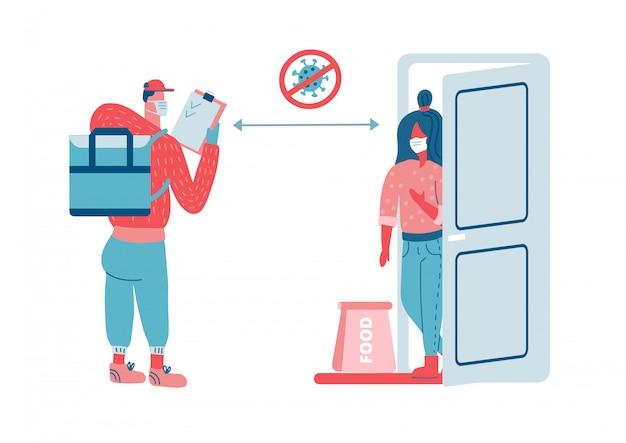 Bezkontaktowa koncepcja dostawy żywności. scena z kurierem i kobietą w maskach ochronnych i torbie z żywnością w bezpiecznej odległości w celu ochrony od covid-19 lub koronawirusa. płaska ilustracja