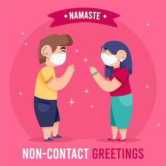 Bezkontaktowe powitanie namaste dla ochrony