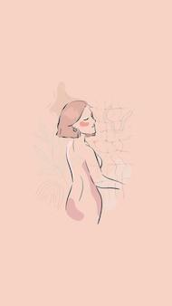 Beżowa kobieca grafika liniowa