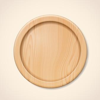 Beżowa lub brązowa taca na naczynia kuchenne lub drewniane naczynia kuchenne na pizzę lub mięso