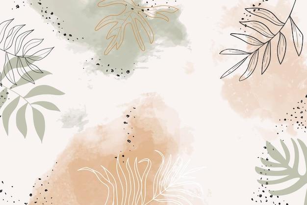 Beżowe liściaste tło akwarela