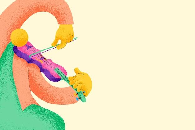 Beżowe tło muzyczne z płaską grafiką muzyka skrzypka