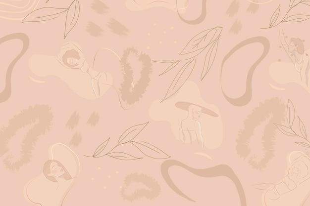 Beżowe tło wzorzyste botaniczne