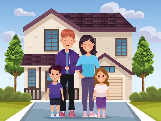 Beżowy dom i rodzina