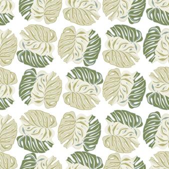 Beżowy i zielony pastelowy liść monstera ornament wzór. egzotyczny wzór natury. na białym tle tło. ilustracja wektorowa do sezonowych wydruków tekstylnych, tkanin, banerów, teł i tapet.