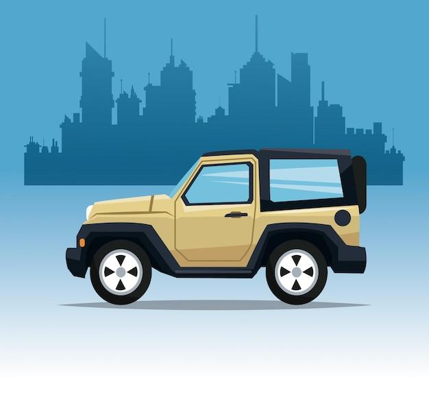 Beżowy jeepa sporta miasta tło
