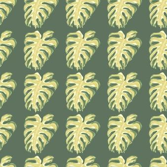 Beżowy kolorowy monstera pozostawia wzór w bladych odcieniach. szare tło. abstrakcyjny druk natury. tło dekoracyjne do projektowania tkanin, nadruków na tekstyliach, zawijania, okładek. ilustracja wektorowa.