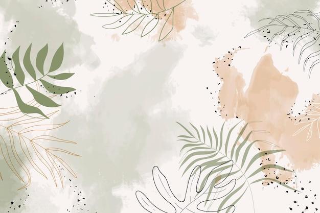Beżowy liściasty akwarela tło wektor