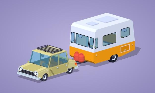 Beżowy sedan z pomarańczowo-białym kamperem