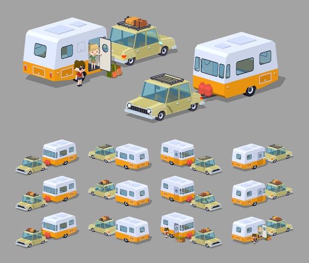 Beżowy sedan z pomarańczowo-białym trójwymiarowym izometrycznym kamperem rv
