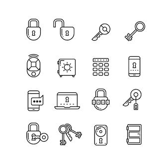 Bezpieczeństwo cienka linia wektorowe ikony