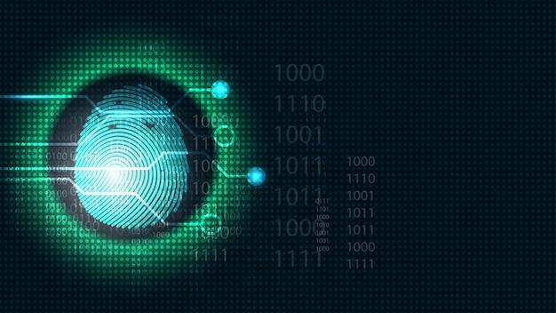 Bezpieczeństwo cyber cyfrowy koncepcja skanowania linii papilarnych