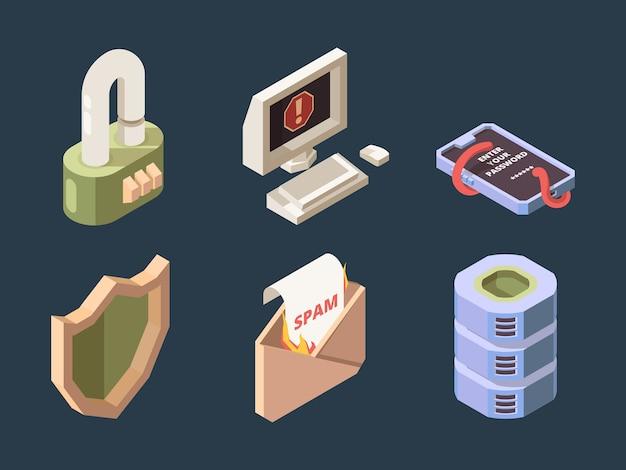 Bezpieczeństwo cybernetyczne. internetowy atak hakerów ddos spam bot, wirusy phishingowe, sieć, wektor ochrony danych cyfrowych, izometryczny. phishing i ochrona ponownie ilustracja wirusów i spamu